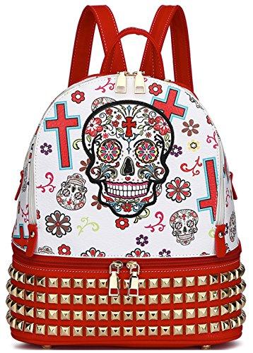 Red Skull Messenger Bag (Sugar Skull Day of the Dead Fashion Backpack Punk Art Studded School Bag Biker Daypack Purse Shoulder Bag (Red))