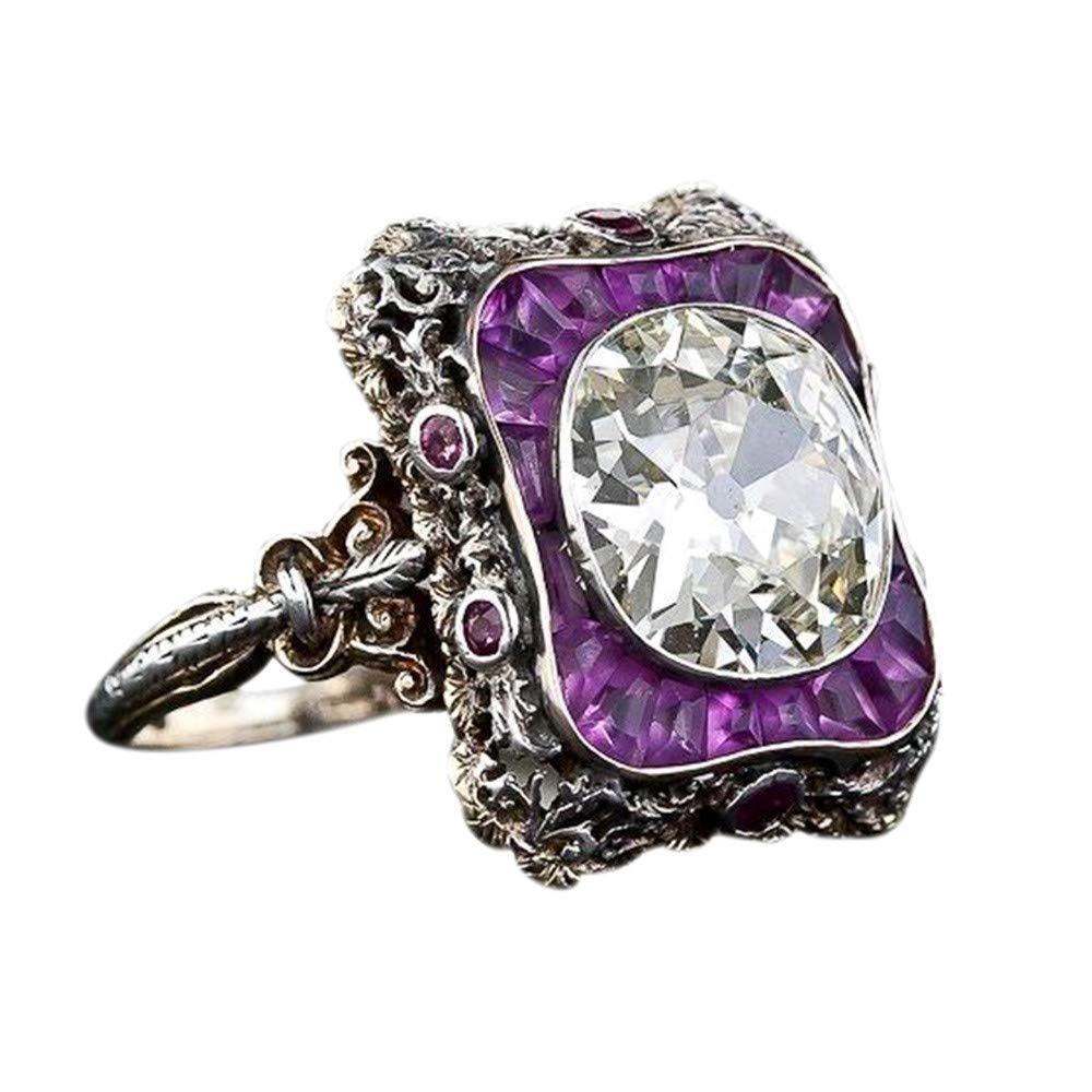 Sinwo Women Elegant Exquisite Diamond Cylindrical Rings Fine Ring Engagement Ring Gift (6, Purple)
