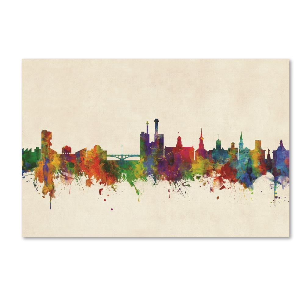 Trademark Fine Art Iowa City Iowa Skyline by Michael Tompsett, 16x24-Inch Canvas Wall Art