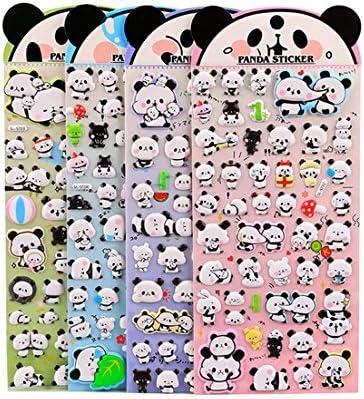 Panda Album 4 Sheets Cute Lovely Puffy DIY Decorative Adhesive Sticker Tape//Kids Craft Scrapbooking Sticker Set for Diary