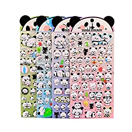 4 Sheets Cute Lovely Puffy DIY Decorative Adhesive Sticker Tape/Kids Craft Scrapbooking Sticker Set for Diary, Album (Panda)
