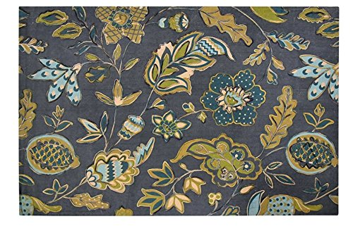 CHOPRAUS Cotton Printed Elton Grande Area Rug/Floor Rug/Carpet with Wool Embroidery, 60X90 Inch or 5X8 Feet- (Embroidery Pattern Wool)