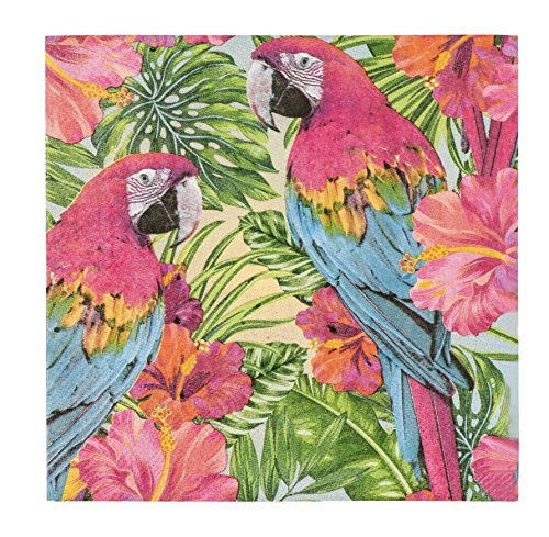 Cocktail Napkins - 150-Pack Luncheon Napkins, Disposable Paper Napkins Tropical Party Supplies, 2-Ply, Parrot Design, Unfolded 13 x 13 Inches, Folded 6.5 x 6.5 -