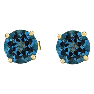 016cd4600 Amazon.com: 3 Carat Natural London Blue Topaz 14K Yellow Gold Solitaire Stud  Earrings for Women Exclusively Handcrafted in USA: Jewelry