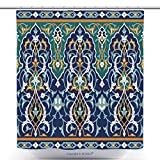 vanfan Stylish Shower Curtains Arabic Floral Seamless Border Traditional Islamic Design Mosque Decoration Element Bath Decorations Bathroom Decor Sets With Hooks(72 x 96 inches)