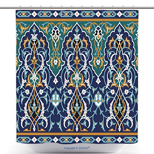 vanfan Stylish Shower Curtains Arabic Floral Seamless Border Traditional Islamic Design Mosque Decoration Element Bath Decorations Bathroom Decor Sets With Hooks(72 x 96 inches) by vanfan