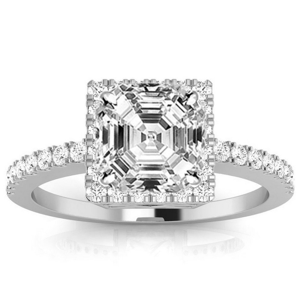 3.3 Ctw Platinum Square Halo Style Single Row Engagement Ring w/ Asscher 3 Carat Forever One Moissanite Center