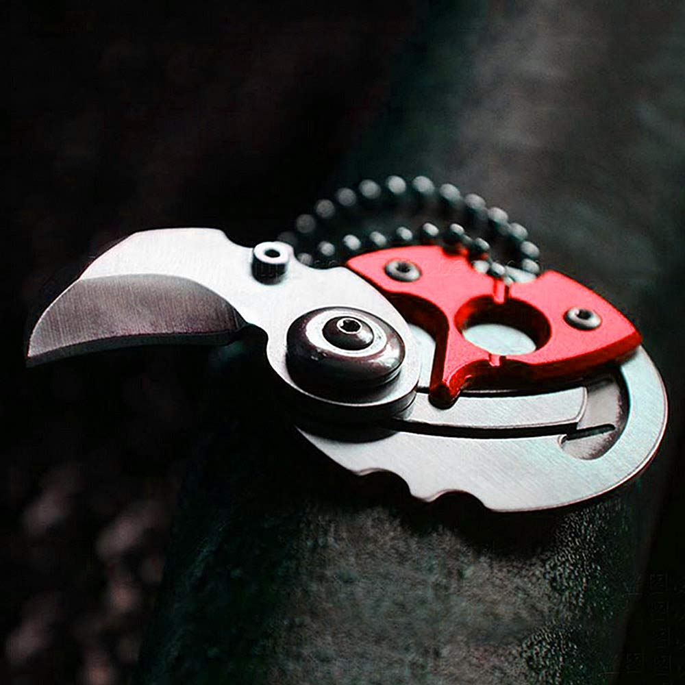 Mini Folding Coin Pocket Knife Camping Rescue Outdoor Survival Tool (Red)
