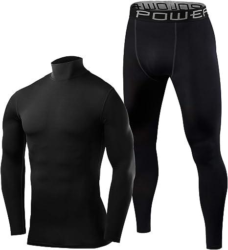 BUYKUD Kids Girls Boys Long Sleeve Base Layer Compression Athletic Shirt Tights Top /& Bottom Set Unisex