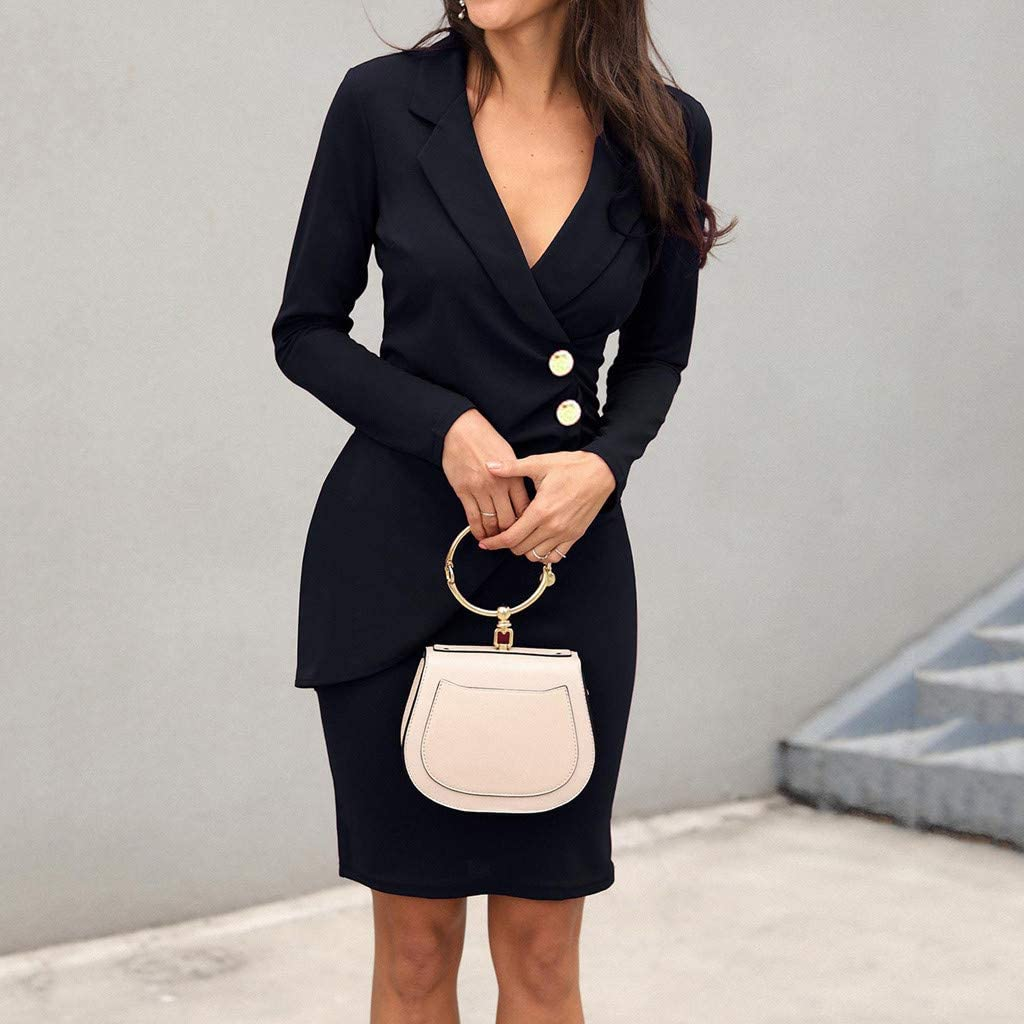Auifor Women Formal Dresses New Chic Long Sleeve V-Neck Solid Colour Buttons Slim Dress Spring Autumn Daily Outdoor Work Dress