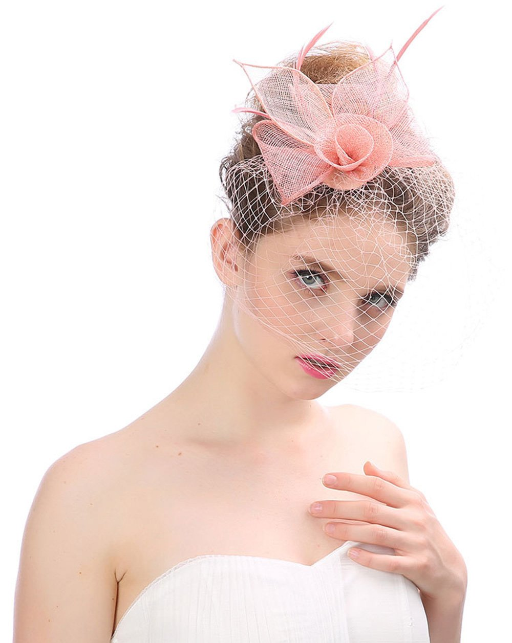 Muryobao Women's Fascinator Hat Flower Veil Feather Mesh Net Bowknot Clip Bridal Hat Cocktail Tea Wedding Party Headwear for Girls Pink