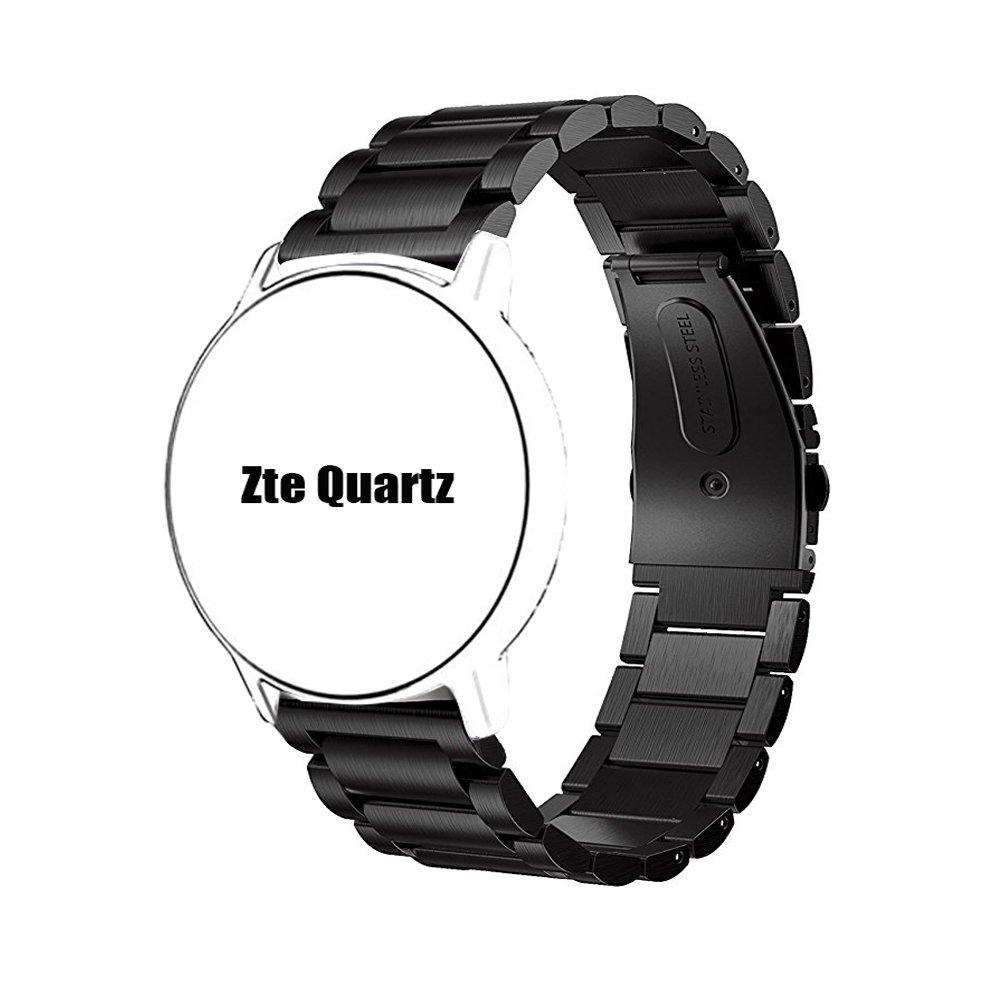 ZTE Quartz Smartwatch Band, Lamshaw Stainless Steel Metal Replacemet Straps for ZTE Quartz Smartwatch (Black)