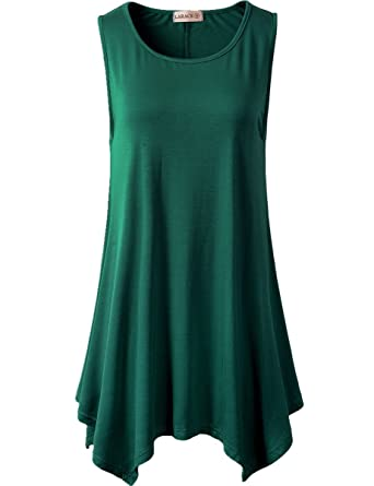 c1389a220a6 LARACE Lanmo Women Plus Size Solid Basic Flowy Tank Tops Summer Sleeveless  Tunic(S,
