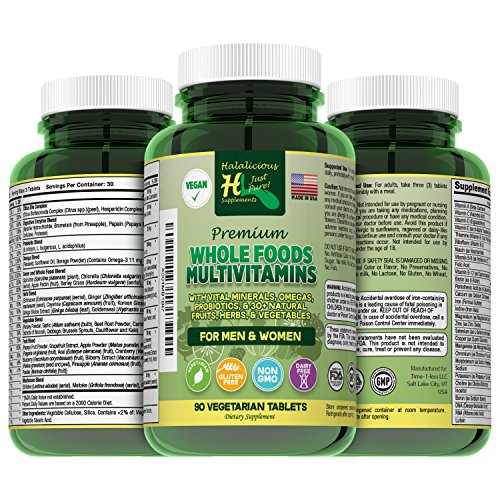 Halalicious Natural Whole Food Multivitamin Plus Minerals: Men/Women Vegan Vitamin Vegetarian 30+ Fruits Vegetables Supplements-Antioxidants, Probiotics, Herbs, Omegas, Luetin, Halal-Friendly-90 Count (Biotin 300 Mcg 90 Tabs)