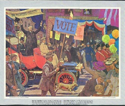 1906 Cadillac Touring campaign rally parade Humble Oil calendar print 1960s