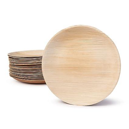 BIOZOYG DTW05389 plato de hoja de palma, 25 uds, redondo, Ø23 cm, biodegradable