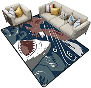 Classroom Carpet Sea Animal Decor Modern Murky Motley of The Battle of Shark vs. Eagle Attack Fight Power Brown Blue Outdoor Rugs for patios Area 5'x7'