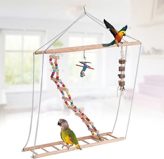 Yosoo Loro Periquito Pájaro Mascota Hamaca de Juguete Columpio Colorido Escalera Colgante Puente de Suspensión: Amazon.es: Productos para mascotas
