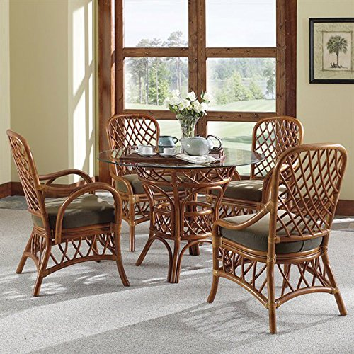 Antigua Rattan 7 Pc. Dining Set with 4 Side Chairs, Cushions, Table, (Antigua Rattan Chair)