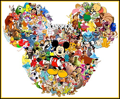 (Disney Character Collage - For Dark-Colored Materials - Iron On Heat Transfer 6