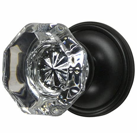 Providence Octagon Crystal Door Knob Set with Victorian Rosette in ...