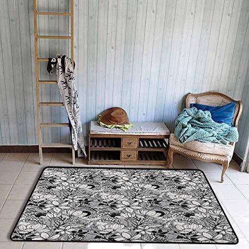 - Outdoor Patio Rug,Garden Art Botanical Pattern with Hand Drawn Flowers Frangipani Mimosa and Lotus,Anti-Slip Doormat Footpad Machine Washable,4'7