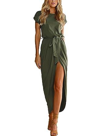 YOINS Sommerkleid Damen Kleider Jerseykleider Strickkleider für Damen  Maxikleid Rundhals Sexy Kleid Kurzarm Strandkleid mit Gürtel  Amazon.de   Bekleidung 9089d6e3f7