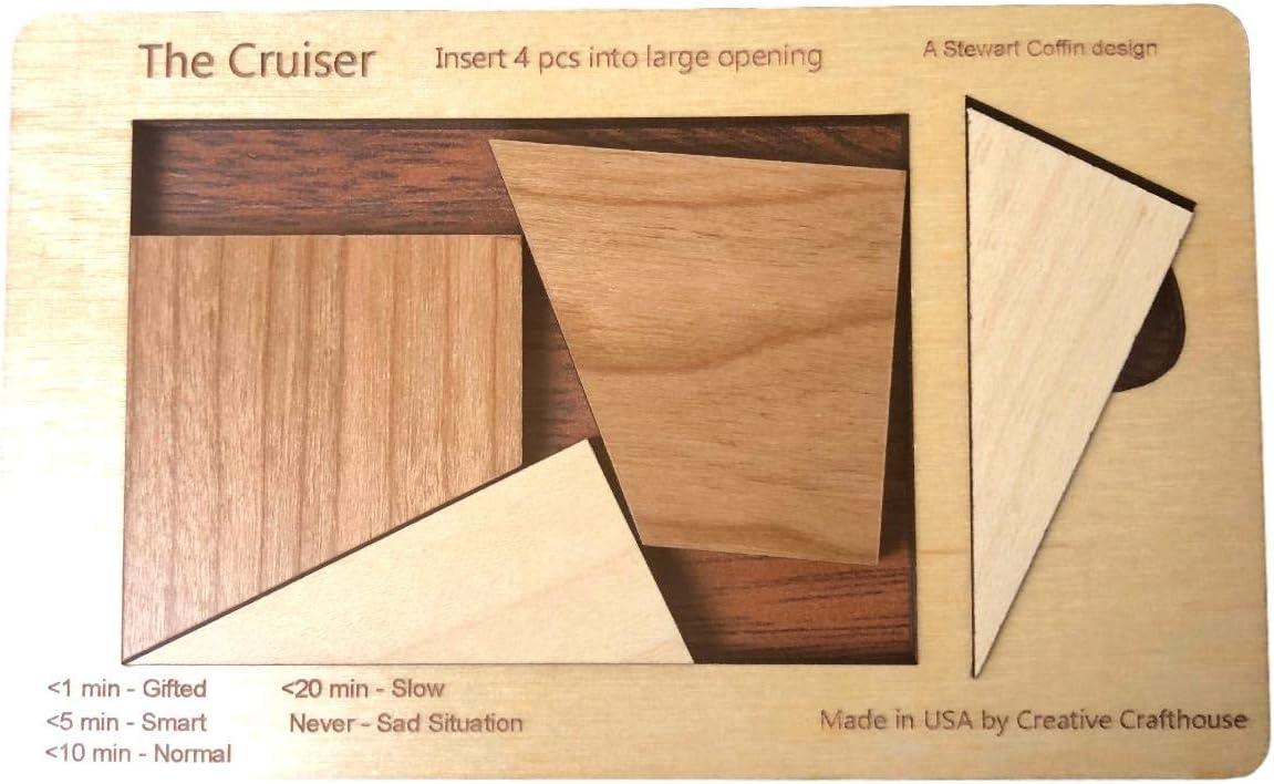 4 pc wood brain teaser puzzle SIZE LARGE design by Stewart Coffin Cruiser