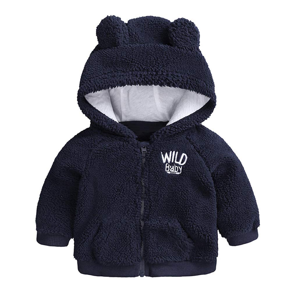 squarex 0-24 Months Baby Coat Autumn Winter Children Long Sleeve Coat Gift for Christmas Day Newborn Baby Boys Girls Cartoon Long Sleeve Warm Hooded Coat Clothes Snowsuit