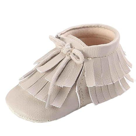 5b77c973a Ouneed bebé niña niño 0 – 12 meses zapatos borlas de dos pisos zapatos de  bebé