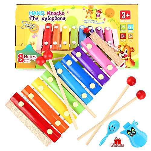 Price comparison product image WEfun Xylophone, Wood Instrument Toy with 8 Bright MultiColor bars and 4 Child-Safe Wooden Mallets Bonus a Clever Whistle and Maracas for a Mini Kids Band