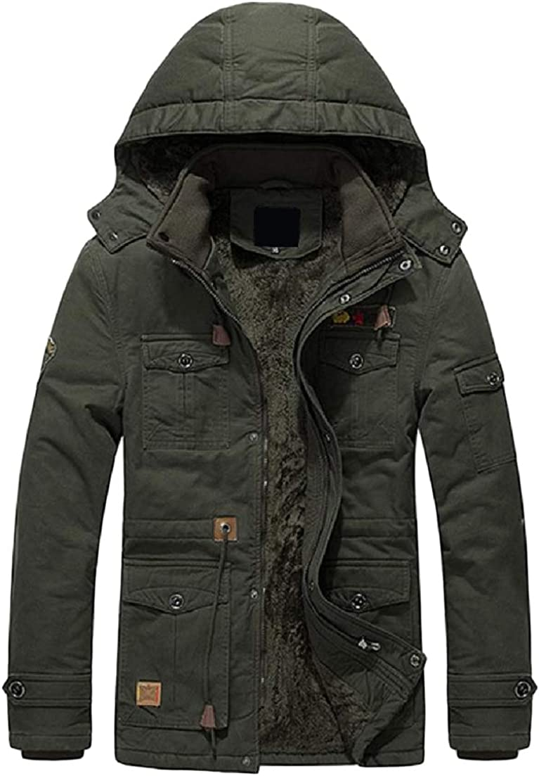 C/&H Mens Fashion Hooded Fleece Outer Coat Mid-Length Anorak Jacket
