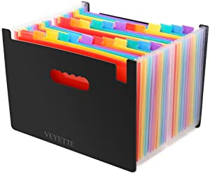 File Folder Organizer, Veyette Heavy Duty Expanding File Wallet with Tabs for Home School Office, A4 Size, Black (24)