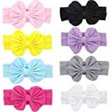 Mookiraer Baby Hair Hoops Headbands Girl's Soft Headbands With bows (8 Pack)