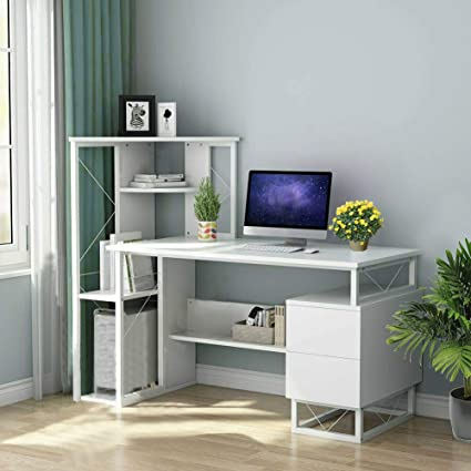 Amazon Com Selomore Computer Desk With Hutch And Bookshelf 57 Inches Home Office Desk With Space Saving Design For Small Spaces Modern Simple Style Pc Laptop Study Table Writing Workstations White 01 Kitchen Dining