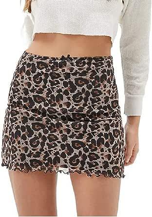GuliriFe Mini faldas de cintura alta de las mujeres de encaje patchwork de malla de hilo Minifalda gráfica impresa una línea de doble capa bodycon falda corta