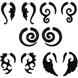 Bluelans® 5 Pairs Women's Black Earrings Studs Fake Spiral Ear Stretcher Expander Gauge Taper