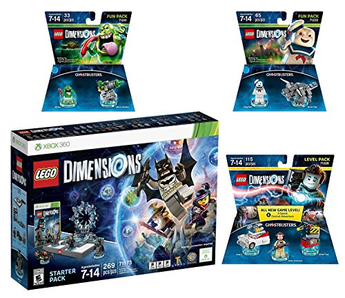 Lego Dimensions Ghostbusters Starter Pack + Peter Venkman Level Pack + Slimer + Stay Puft Fun Packs for Xbox 360 Console by WB Lego