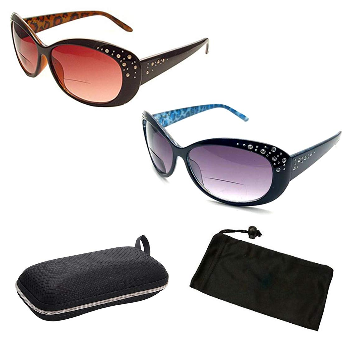 754c1b8b403 Amazon.com  Beautiful Women s Rhinestone Bifocal Sun Readers Reading +  Sunglasses All In One (2PK Brown Black