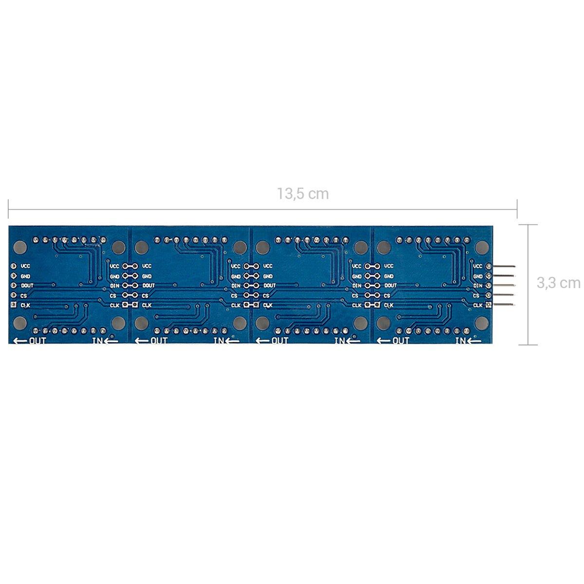 Pantalla LED Arduino y Raspberry Pi kwmobile Matriz LED 8 x 32 M/ódulo de Matriz para Raspberry Pi y Arduino