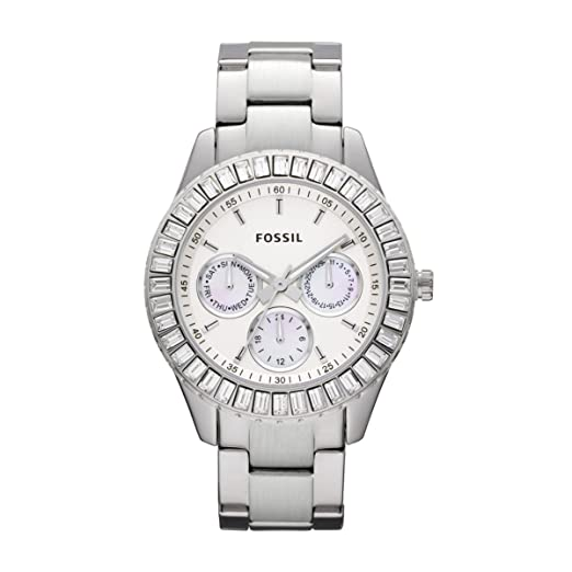Fossil ES2956 - Reloj analógico de cuarzo para mujer con correa de acero inoxidable, color plateado: Amazon.es: Relojes