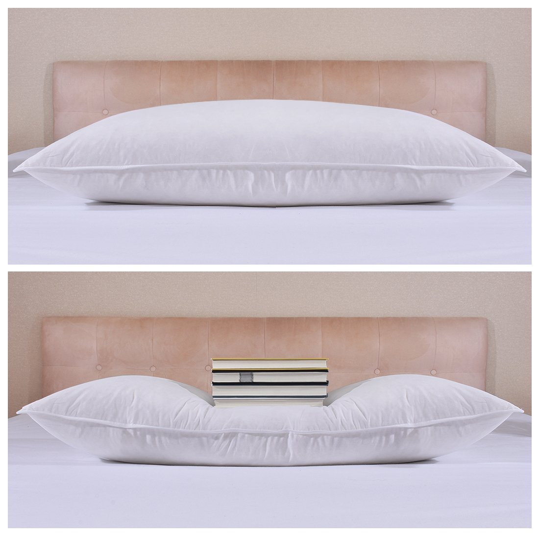 Gusset Pack of 2, Breathable Hypoallergenic BESC Standard//Queen Size Feather and Down Bed Sleeping Pillow 100/% Egyptian Cotton Cover 26x18 inch
