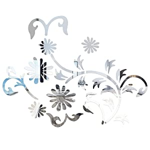 Vosarea Acrylic Mirror Wall Stickers Removable Flower Acrylic Wall Decals Vinyl Art Wall Stickers for Home Living Room Bedroom Decor, 16.9x24.2inch