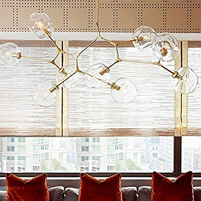RS Lighting Nordic American Retro Creative Art Tree Branches Transparent Glass Bubble Ball 8-Light Chandeliers Restaurant Gold Aluminum Alloy Living Room Pendent Lights