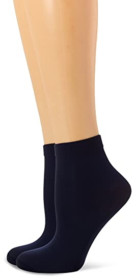 Dim Style Tobilleros opacos, Calcetines para Mujer, 40 DEN, (Azul Marino 6me