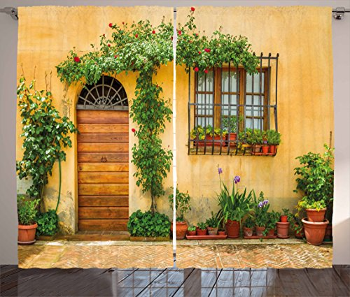 - Ambesonne Italy Curtains, Porch with Different Flowers Pots Fresh Green Plants City Life in Tuscany, Living Room Bedroom Window Drapes 2 Panel Set, 108 W X 90 L Inches, Green Brown