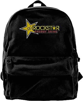 Mochila de lona Rockstar para bebidas energéticas, para gimnasio, senderismo, portátil, bolsa de hombro para hombres y mujeres