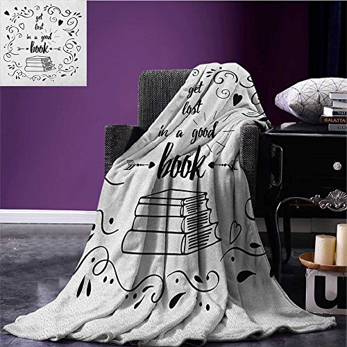 (Book Patterned blanket Get Lost in a Good Book Printed Quote with Hand Drawn Floral Pattern with Books Arrow beach blanket Black White size:59