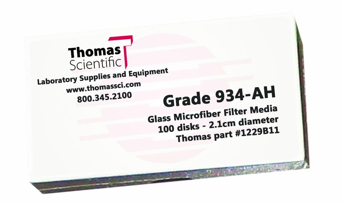 47mm Diameter Grade 934-AH Thomas AH4700 Borosilicate Glass Microfiber Filter 1.5 Micron Fast Flow Pack of 100