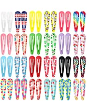 Clips for Hair, 50 Pcs 2.4 Inch Metal Barrettes Snap Hair Clips for Girls Kids Teens Women, Cute Candy Color Hair Pins for Birthday Party Gift, 25 Assorted Colors (Fruit Floral Print & Solid Color)